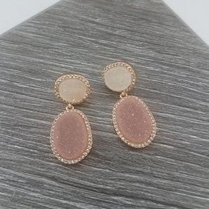 NWOT BaubleBar Pink Gold Druzzy Earrings
